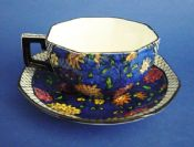 Rare Royal Doulton 'Persian Anemone' Series Art Deco Octagon Cup and Saucer c1920